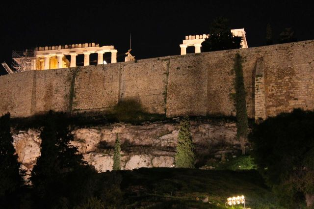 The Acropolis at night.