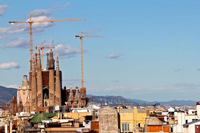 La Sagrada Família from the roof of La Pedrera.