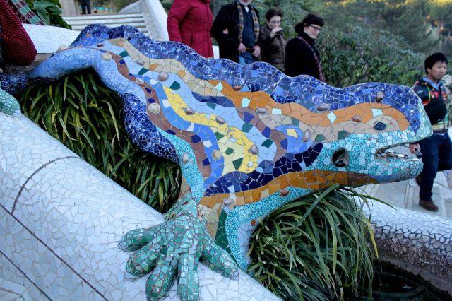 "Mosaic salamander, known as ""el drac"" in Park Güell"