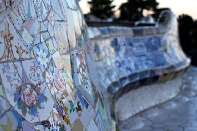 Mosaic bench in Park Güell